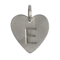 Silver Traditional Heart Initial Charm