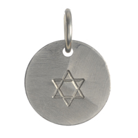 Jewish Star Stamped Disc Charm